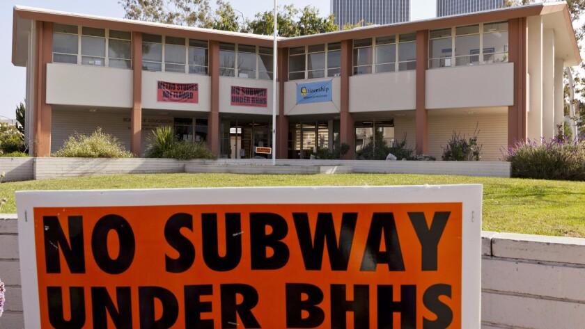 For years, officials in Beverly Hills fought Metro's plans to run a subway tunnel beneath a corner of the high school campus. Above, the district headquarters.