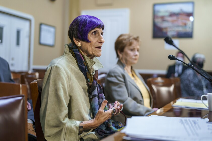 House Appropriations Committee Chair Rosa DeLauro, D-Conn., left, joined by Rep. Kay Granger, R-Texas, appear before the House Rules Committee as they field questions about raising the debt limit, at the Capitol in Washington, Tuesday, Sept. 21, 2021. (AP Photo/J. Scott Applewhite)