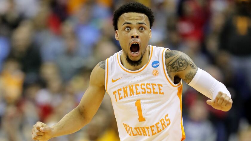 Tennessee's Lamonte Turner reacts after being called for a foul during Sunday's win over Iowa in the NCAA tournament.