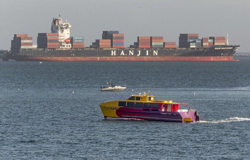 South Korea's Hanjin Shipping Co. container ship Hanjin Montevideo, top, is anchored outside the Port of Long Beach in Long Beach, Calif., on Thursday, Sept. 1, 2016. The bankruptcy of the Hanjin shipping line has thrown ports and retailers around the world into confusion, with giant container ship