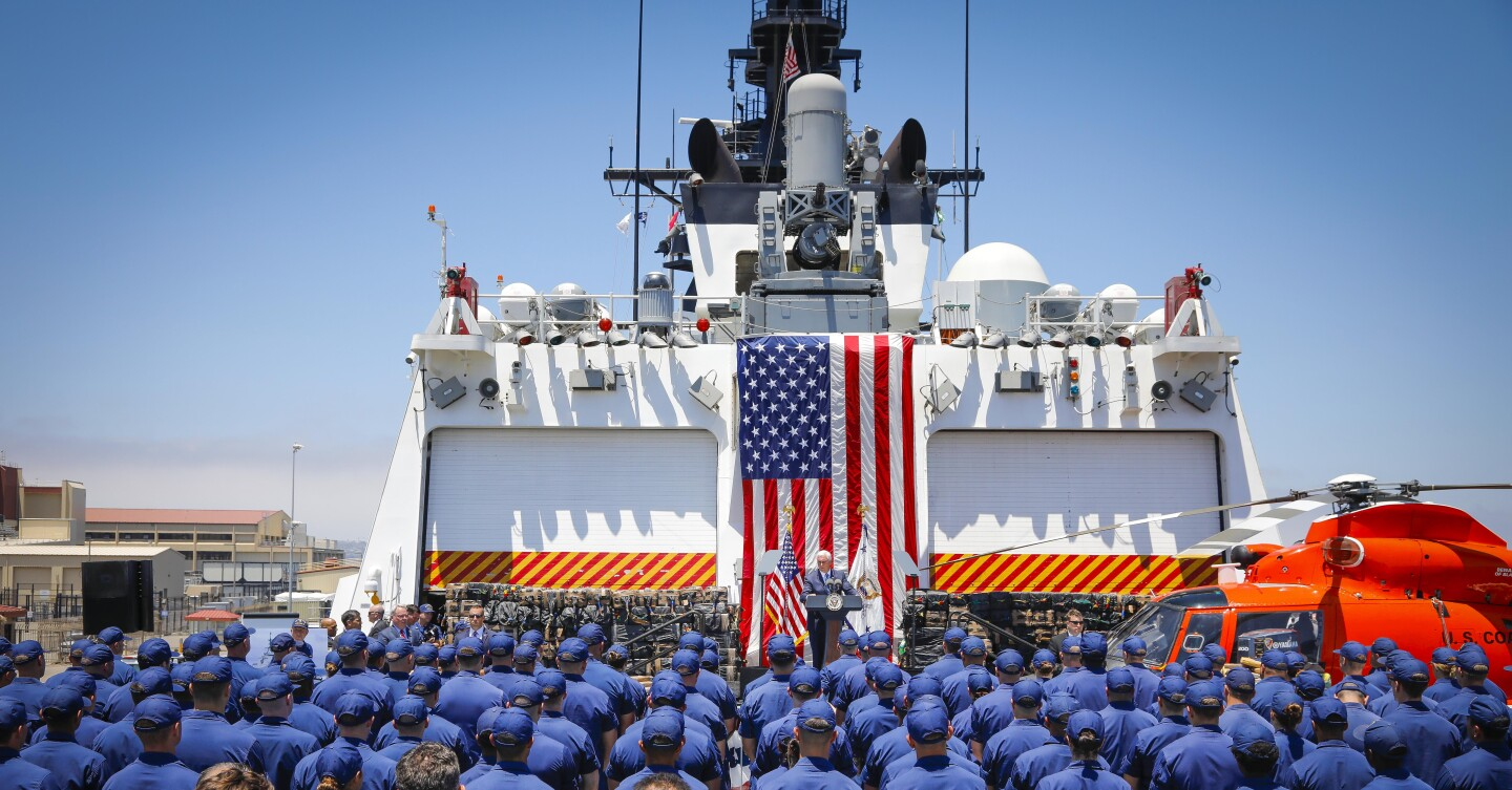 Vice President Mike Pence delivers remarks at Naval Air Station North Island onboard the U.S. Coast Guard cutter Munro, July 11, 2019, in Coronado, California during his first official trip to San Diego County since taking office. The Munro, homeported in Alameda, in Northern California, is tasked with seizing drugs in international waters. About 39,000 pounds of cocaine, and 1,000 pounds of marijuana seized in the Eastern Pacific Ocean by the Coast Guard was on display during the visit and offloaded after the Vice President left the base.