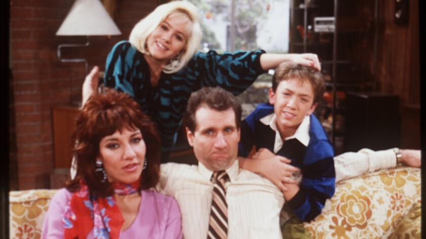 "Christina Applegate, top left, plays Kelly Bundy on ""Married With Children."" Also pictured are Katey Sagal, Ed O'Neill, and David Faustino."