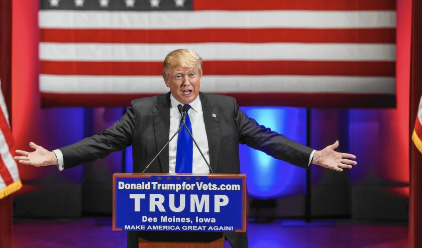 Republican presidential candidate Donald Trump speaks at an event in Des Moines to benefit veterans groups.