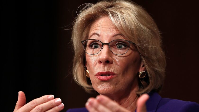 Education Secretary-designate Betsy DeVos in Washington on Jan. 17.