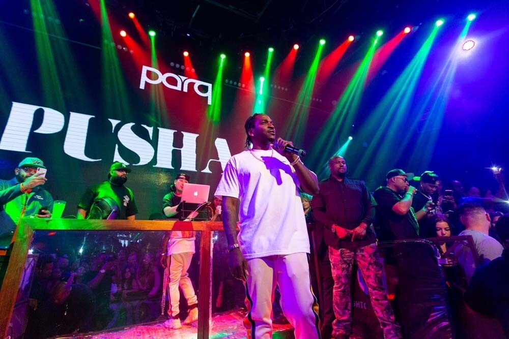 Rapper Pusha T promoted his new album, Daytona, while entertaining the crowd at Parq Nightclub on Saturday, June 16, 2018.