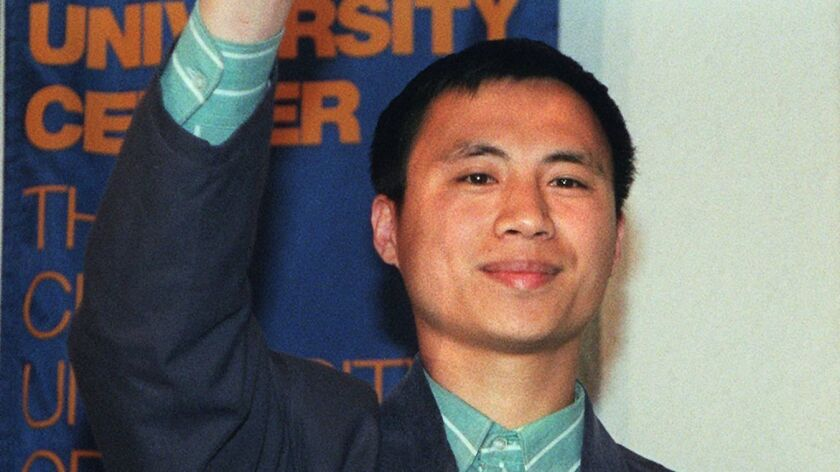Pro-democracy student protest leader Wang Dan at a news conference in New York in April 1998, after he was freed by Chinese authorities.