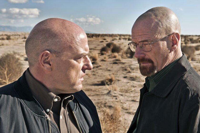"""Hank (Dean Norris), left, and Walt (Bryan Cranston) in """"Breaking Bad."""""""