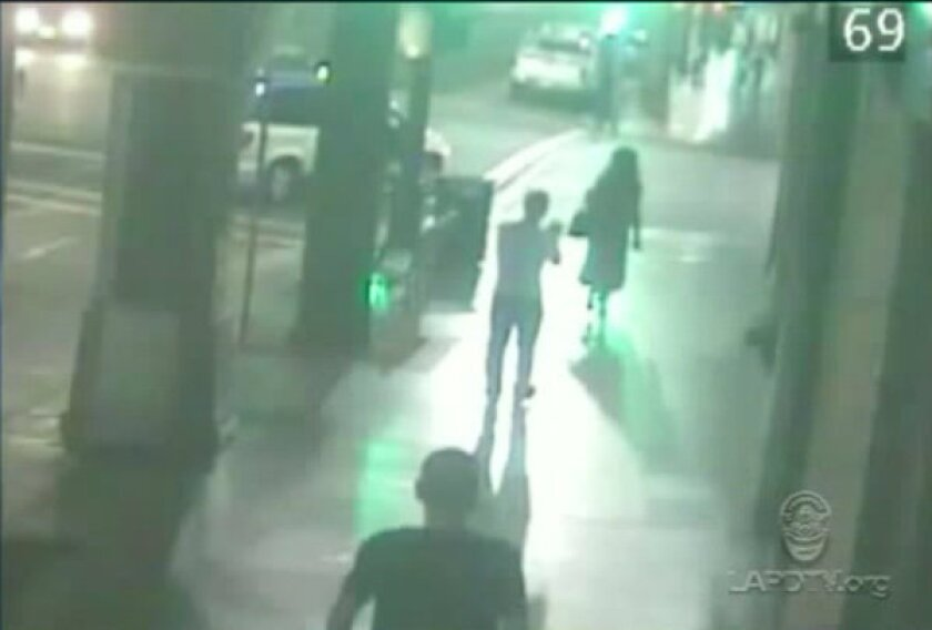 An image from a surveillance video shows a transgender woman about to be attacked in Hollywood.