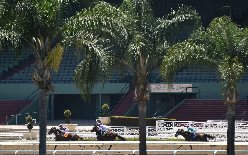 Horses race with empty stands in the background at Santa Anita Park.