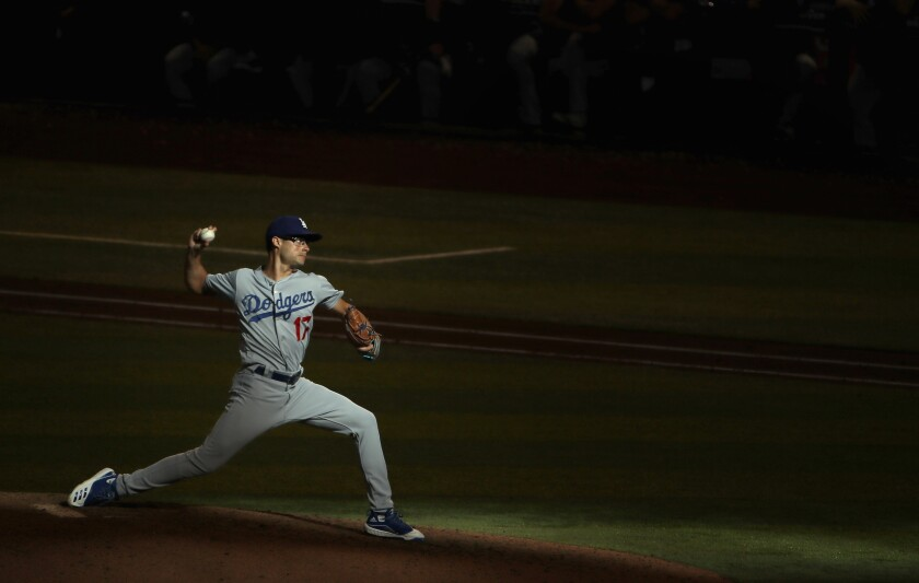Dodgers reliever Joe Kelly pitches against the Arizona Diamondbacks on Sept. 1.