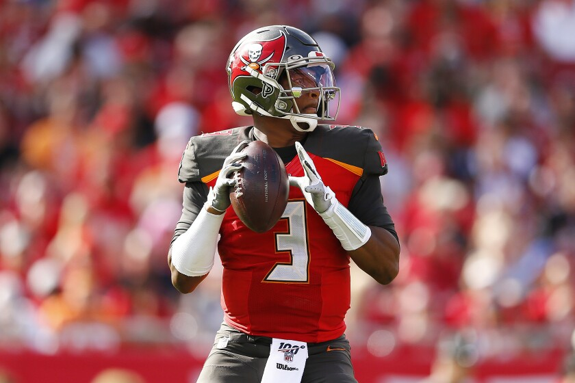 Tampa Bay Buccaneers quarterback Jameis Winston looks to pass against the Atlanta Falcons on Dec. 29.