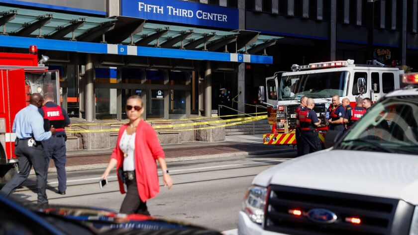 Emergency personnel and police responded to a shooting Thursday in Cincinnati's downtown Fountain Square.