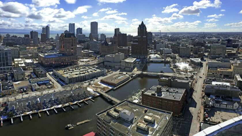 This March 7, 2018 photo shows the downtown skyline of Milwaukee. The Democratic National Committee