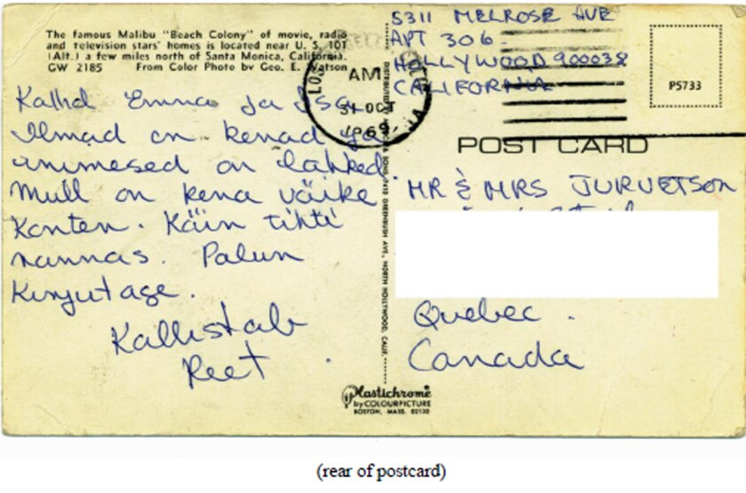 A postcard Reet Jurvetson sent to her family shortly before her death.