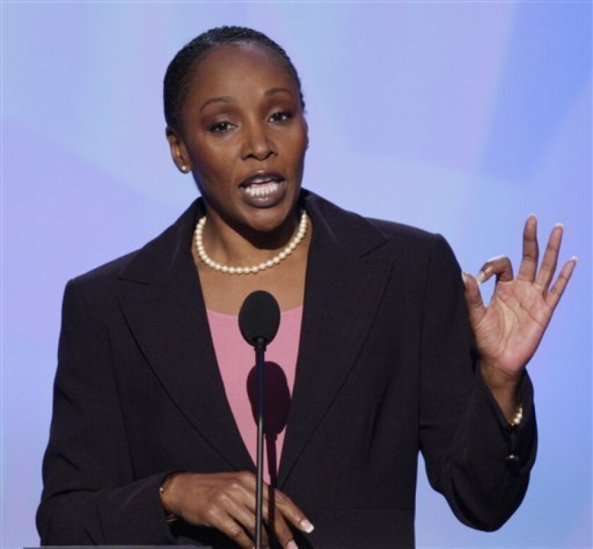 FILE - In this Aug. 27, 2008, file photo, Michele S. Jones, the first female Sgt. Maj. of the U.S. Army, speaks at the Democratic National Convention in Denver. Jones, a special assistant to Defense Secretary Robert Gates, said in a written statement issued through the White House on Monday evening