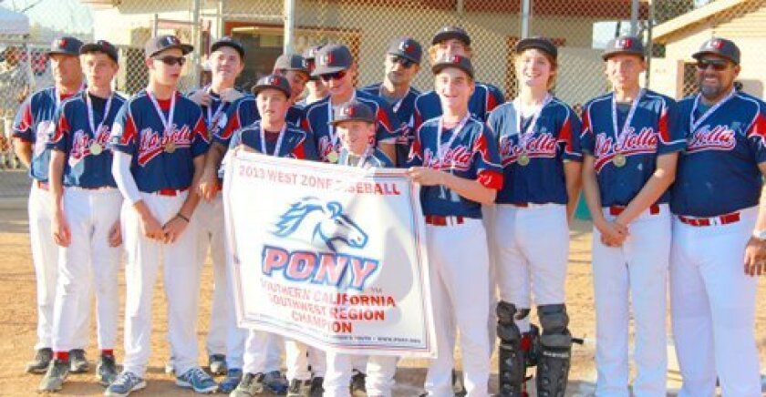 La Jolla Youth Baseball Pony wins SW Region Championship with Coach Tim Samuelson, Nick Hammel, Tate Samuelson, Noah McBride, Nick Ferenczy, Cole Dimich, Dane Hansen, Casey Mariucci, Carson Greene, Manager Steve Mariucci, Reed Farley, Ben Wintgringer, Garrett Brown, Noah Brown and Coach Dimich. Courtesy Photos