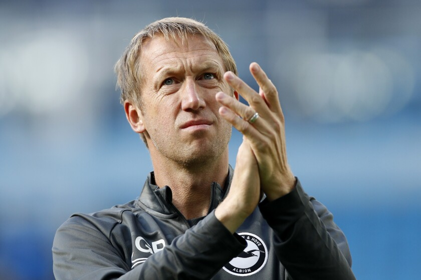 FILE - In this Saturday, Aug. 31, 2019 file photo, Brighton's head coach Graham Potter during the English Premier League soccer match between Manchester City and Brighton & Hove Albion at Etihad stadium in Manchester, England. Brighton was a voice of the Premier League league during the three-month coronavirus pandemic shutdown. The south-coast club's boardroom leaders, coaches and players navigated not just its own supporters but the league's wider fan base through an unprecedented time in English footballing history. (AP Photo/Rui Vieira, File)