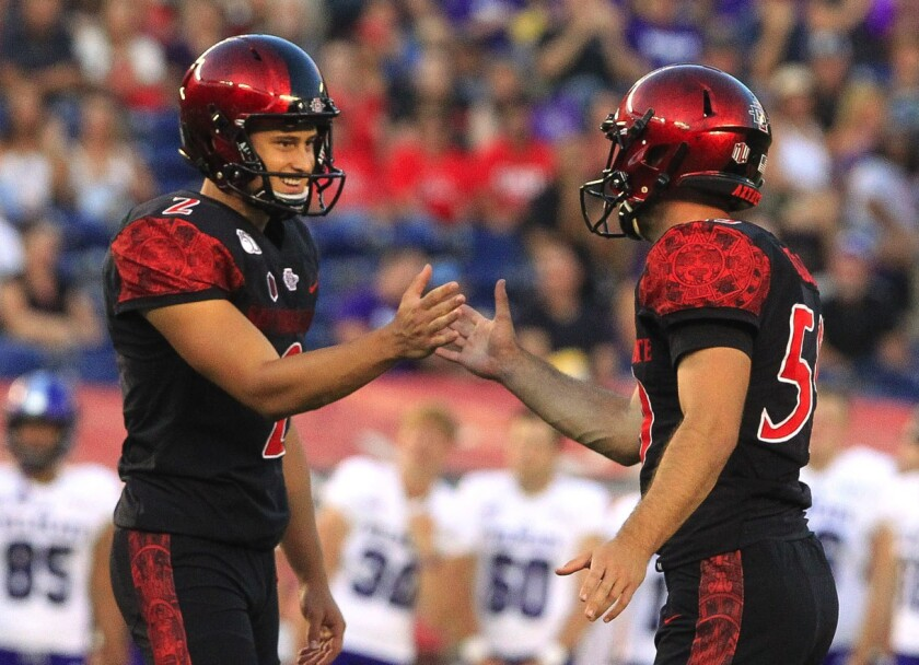 Matt Araiza, the punter and kicker at San Diego State, is shown after a field goal