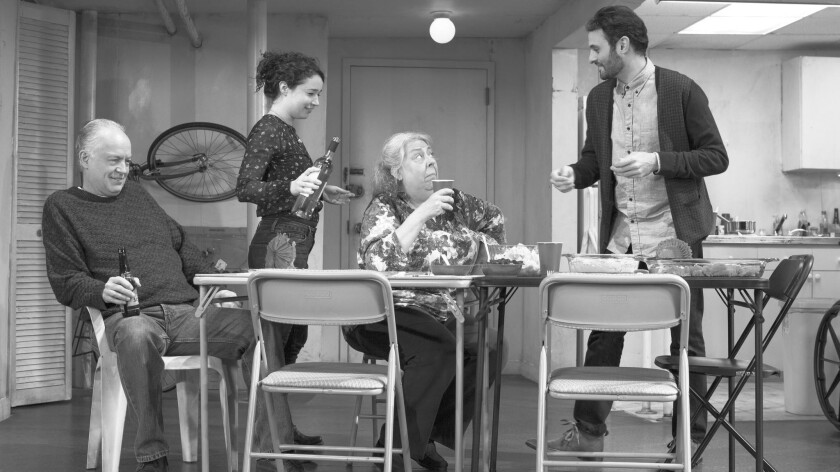"""Reed Birney, left, Sarah Steele, Jayne Houdyshell and Arian Moayed in """"The Humans"""" at the Helen Hayes Theatre in New York."""
