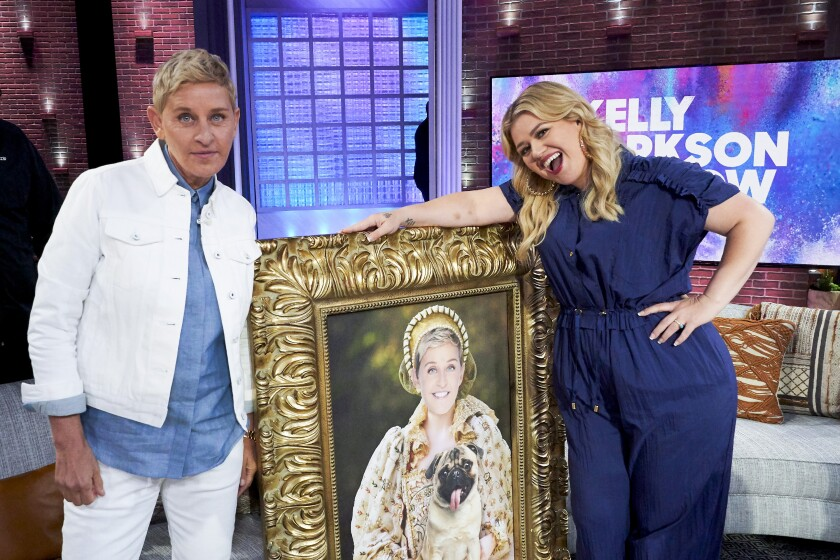 "Ellen DeGeneres and Kelly Clarkson on ""The Kelly Clarkson Show."""