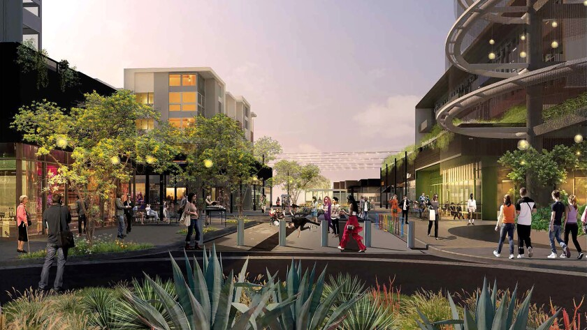 Rendering of how the Runway at Playa Vista town center will look after a $9.1- million makeover that will include closing off the heart of the complex to automobile traffic.