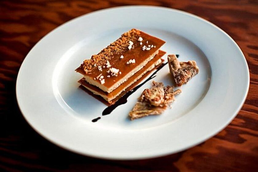 A toffee napoleon with caramel parfait.