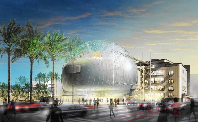 The Academy Museum, shown in an artist's rendering, would include a large event space beneath a wide dome, the Sphere, offering views of the Hollywood Hills.