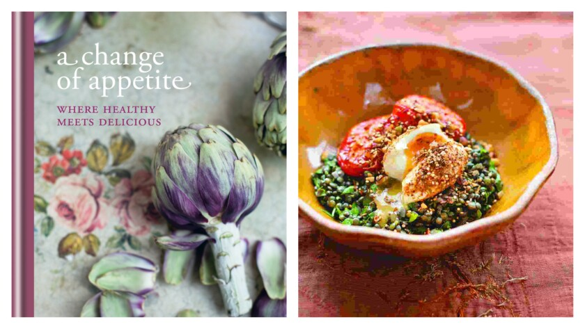 """The new cookbook from British food writer Diana Henry, """"A Change of Appetite: Where Healthy Meets Delicious,"""" and a shot of roasted tomatoes and lentils with dukka-crumbed eggs."""