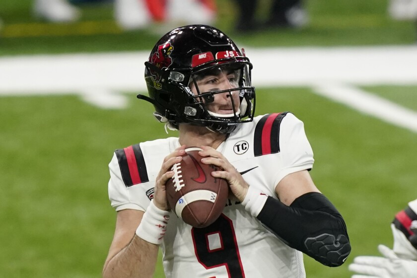 Ball State quarterback Drew Plitt looks downfield during the Mid-American Conference championship game Dec. 18, 2020.