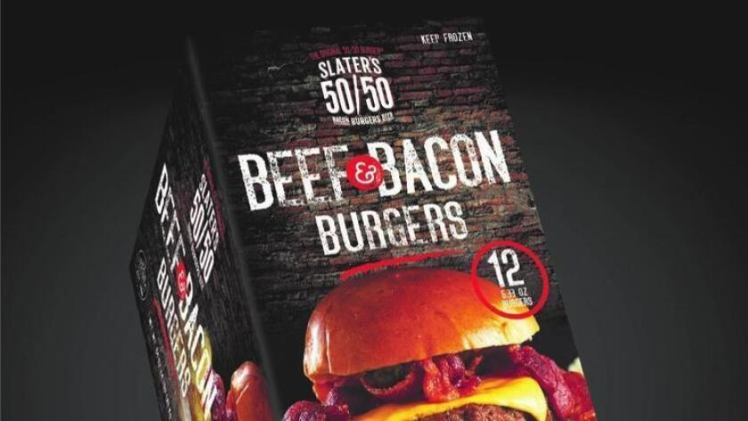 Slater's 50/50 beef & bacon burger patties.