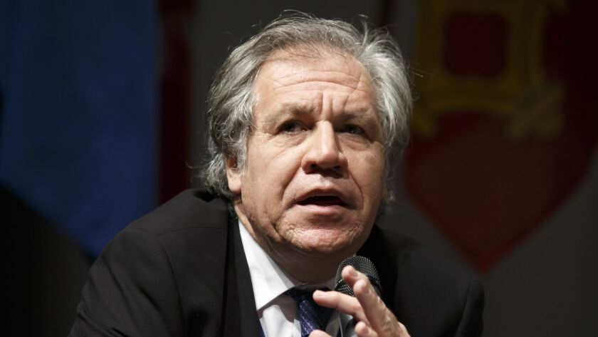 Uruguay's Luis Almagro, Secretary General of the Organization of American States, speaks, at the 10t