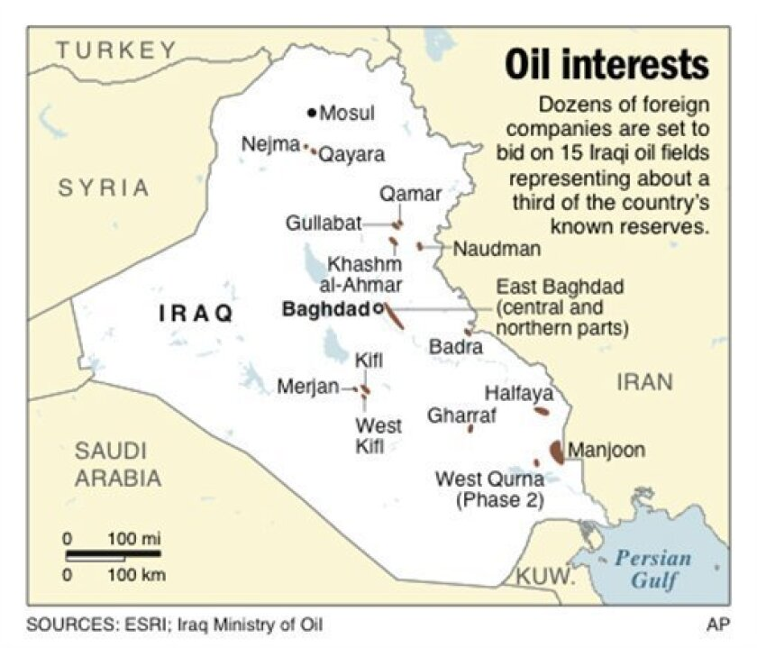 Map shows 15 Iraqi oil fields that will be bid upon by foreign companies