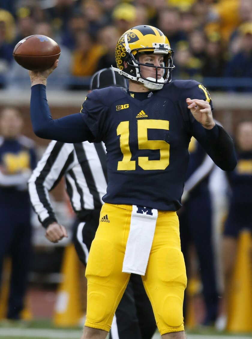 Michigan quarterback Jake Rudock prepares to pass against Rutgers during the first half of an NCAA college football game Saturday, Nov. 7, 2015, in Ann Arbor, Mich. (AP Photo/Duane Burleson)