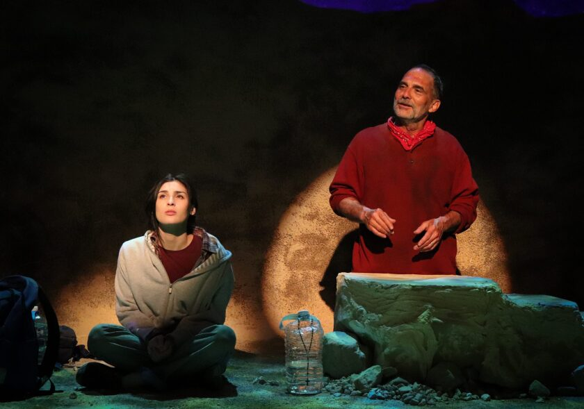 "Natalie Llerena and Jonathan Nichols in the Road Theatre production of ""Nowhere on the Border."""