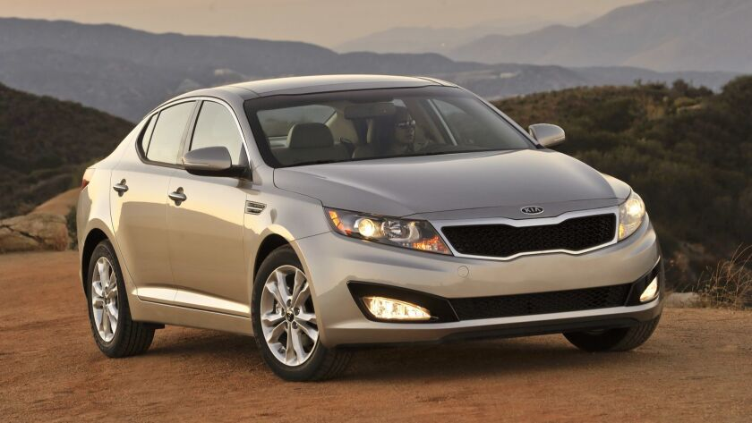 The 2011 Kia Optima, shown here, is among the models prompting consumer complaints about fires.