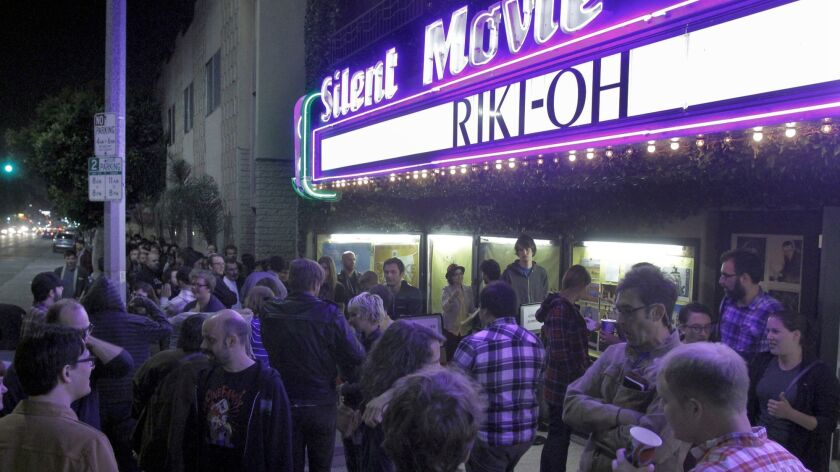 """LOS ANGELES, CA. APR. 26, 2013: Movie-goers lining up before midnight showing of the movie """"Riki-Oh"""""""