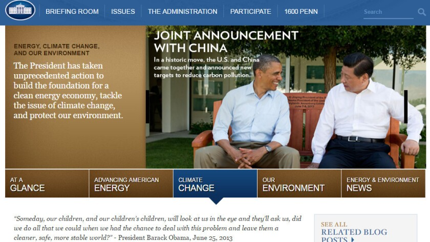 A screenshot of President Obama's whitehouse.gov page on climate change.