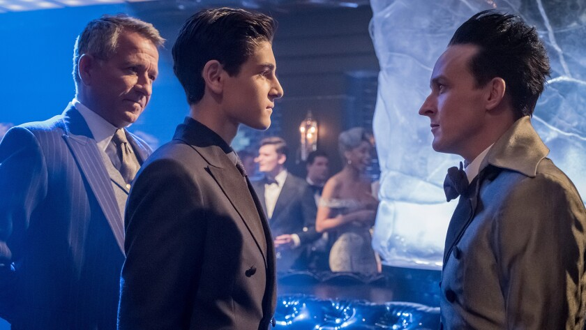 "Sean Pertwee, left, David Mazouz and Robin Lord Taylor in ""Gotham"" on Fox."