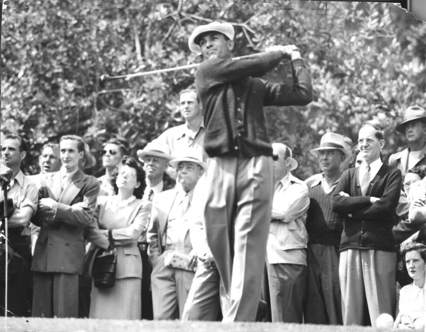Ben Hogan follows through on his drive at the 15th tee during the U.S. Open golf tournament at Riviera Country Club in 1948.