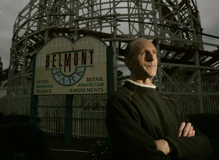 Tom Lochtefeld, master leaseholder at Belmont Park, in front of the Giant Dipper roller coaster at Belmont Park last November after he filed for bankruptcy amid a rent dispute with the city of San Diego.