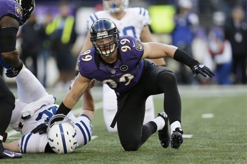 FILE - In this jan. 6, 2013, file photo, Baltimore Ravens outside linebacker Paul Kruger (99) looks up after sacking Indianapolis Colts quarterback Andrew Luck during the second half of an NFL wild card playoff football game in Baltimore. The Cleveland Browns reached agreement on Tuesday, March 12,