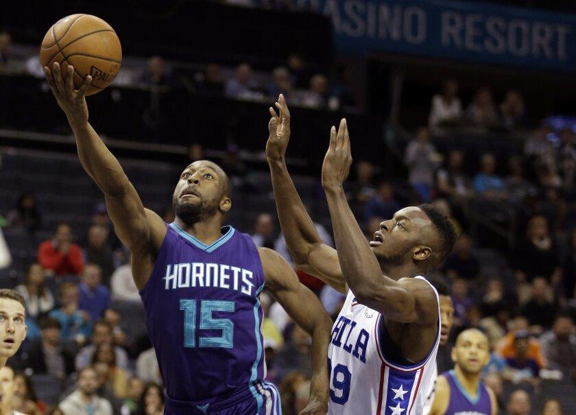 Charlotte Hornets' Kemba Walker (15) slips past Philadelphia 76ers' Jerami Grant (39) for a basket in the first half of an NBA basketball game in Charlotte, N.C., Friday, Nov. 20, 2015. (AP Photo/Bob Leverone)