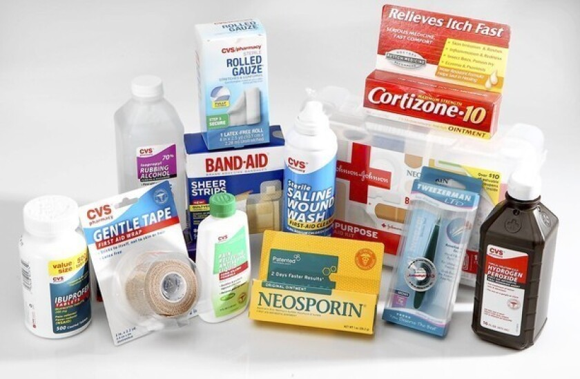 Once a first-aid kit is put together, keep track of expiration dates.