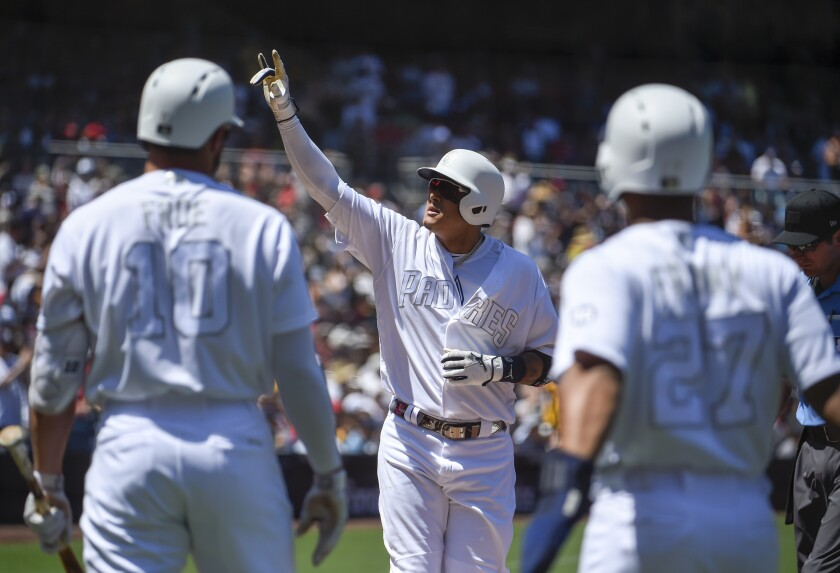 The Padres used four solid at-bats to start the game, including Manny Machado's two-run homer, to top the Red Sox 3-1 Sunday at Petco Park.