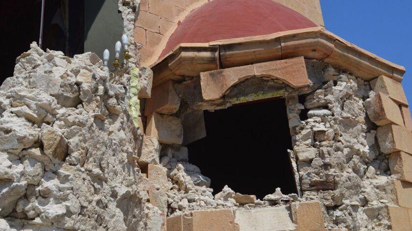 A church shows earthquake damage after a july 21 temblor near the Greek island of Kos.