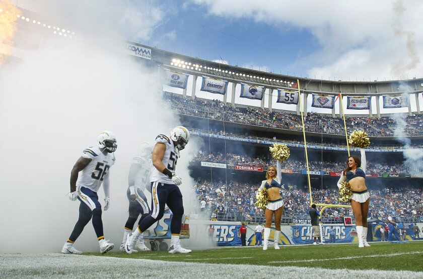 Chargers Donald Butler, left, Melvin Ingram, and Manti Te'o, front are introduced against the Browns.
