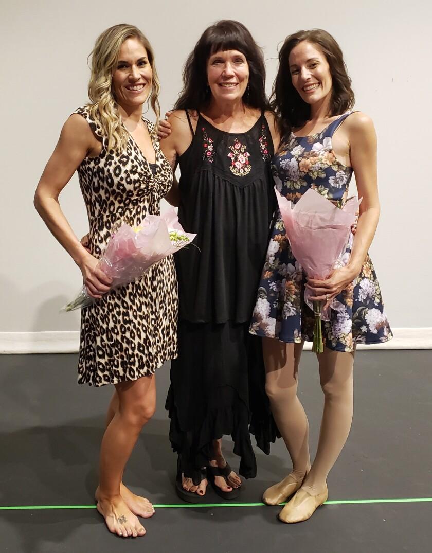 Ramona/Julian Academy of Dance dancers, from left, Jennifer Hatfield, retiring owner Kristi Griffin, and Rachel White.