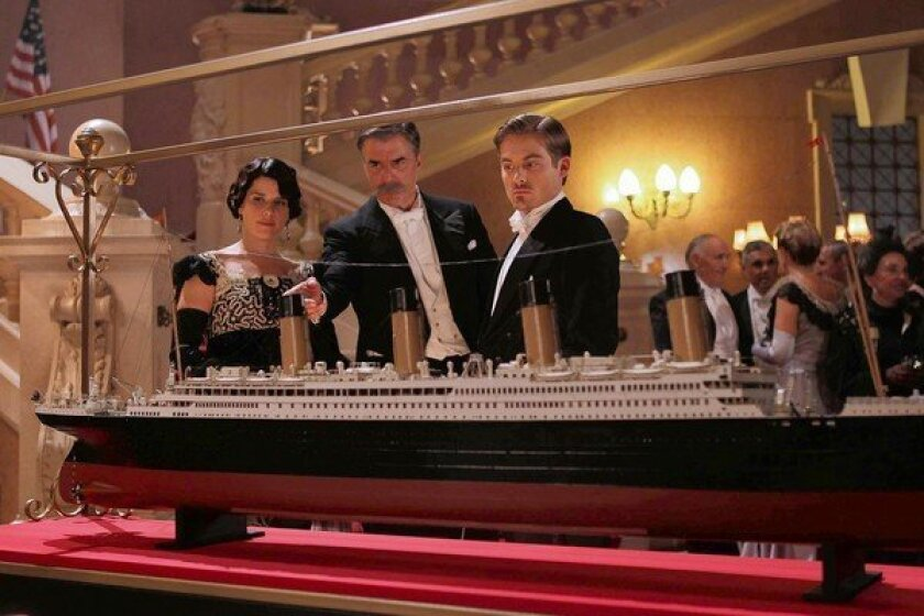 """Neve Campbell, Chris Noth, center, and Kevin Zegers star in """"Titanic: Blood and Steel."""""""