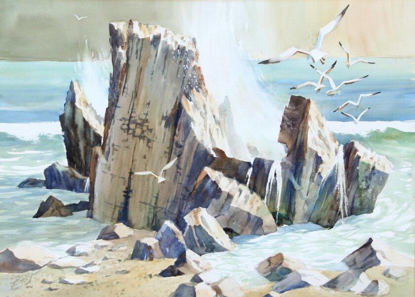 """Brandt's Rocks,"" by the late watercolorist Duane R. Light. CREDIT: California Center for the Arts, Escondido"