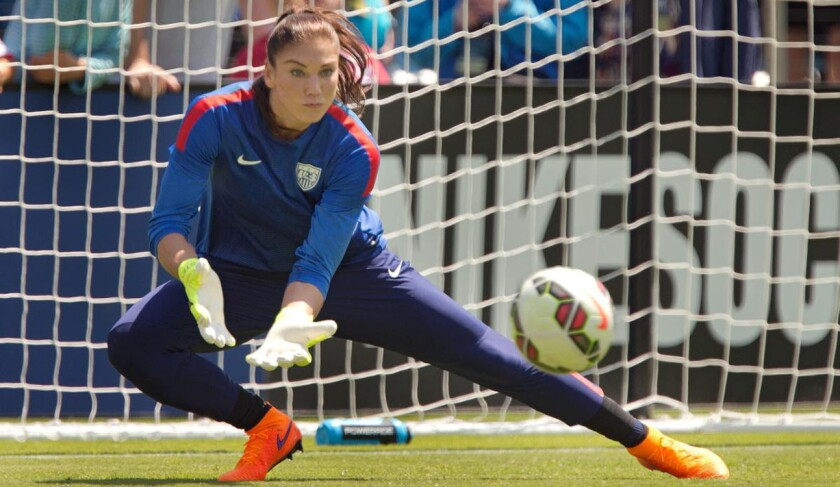 Hope Solo, portera de la selección de futbol de Estados Unidos.